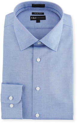Neiman Marcus Men's Trim-Fit Non-Iron Chambray Dress Shirt