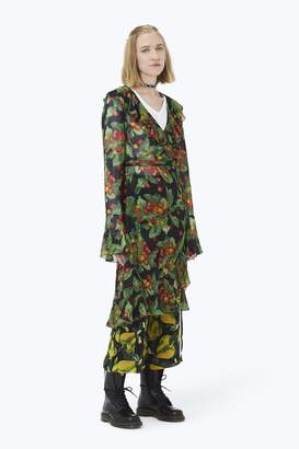 CONTEMPORARY Printed Bell-Sleeve Wrap Dress