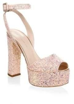 Giuseppe Zanotti Lavinia Glitter Leather Platform Sandals