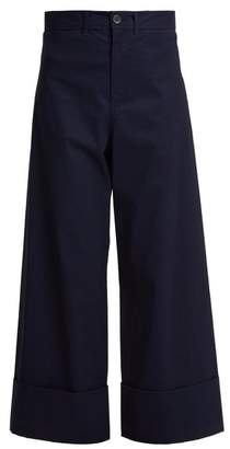 Sea High Rise Cropped Wide Leg Trousers - Womens - Navy