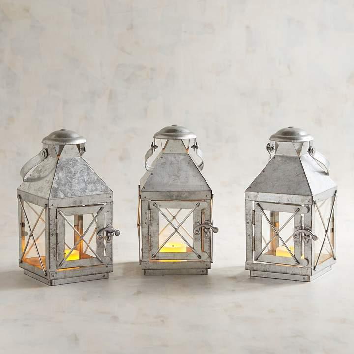 Bennett Mini Galvanized Metal Lanterns, Set of 3