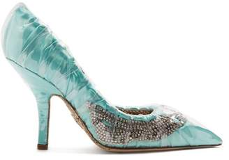 Midnight 00 - Crystal Embellished Ruched Satin Pumps - Womens - Light Green