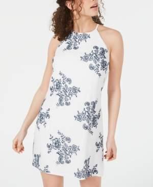 BCX Juniors' Embroidered Halter Dress