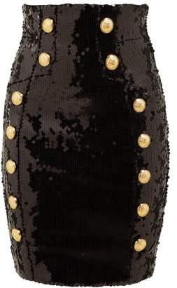 Balmain Sequin Embellished Mini Skirt - Womens - Black