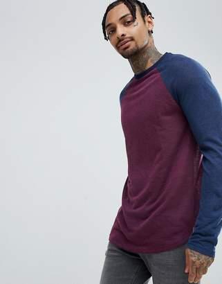 Asos DESIGN Longline Long Sleeve T-Shirt In Linen Look With Curve Hem In Oxblood