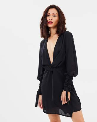 Missguided Split Sleeve Knot Front Wrap Dress