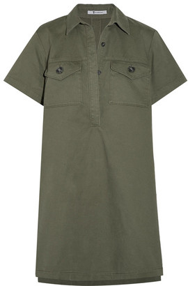 T by Alexander Wang - Cotton-twill Mini Dress - Army green $425 thestylecure.com