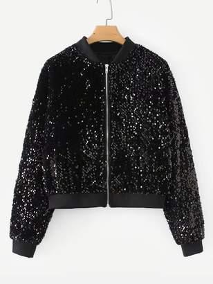 Shein Zipper Fly Sequin Jacket