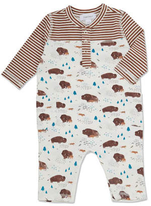 Angel Dear Stripe & Bison-Print Coverall, Size 0-12 Months