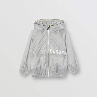 Burberry Logo Print Perforated Hooded Jacket