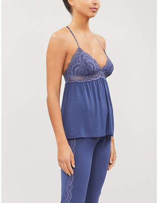 Eberjey Simona racerback jersey and stretch-lace camisole