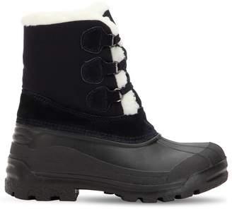 Moncler Christian Canvas Boots W/ Faux Fur