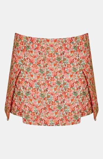 Topshop Floral Origami Skirt Pink Multi 4