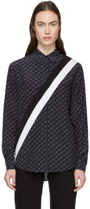 Stella McCartney Navy Silk Monogram Shirt