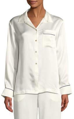 Asceno Contrast-Piping Silk Pajama Top