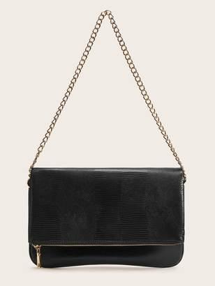 Shein Flap Zipper Baguette Bag