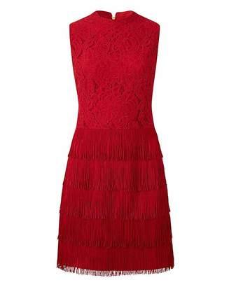 Oasis Curve Fringe and Lace Shift Dress