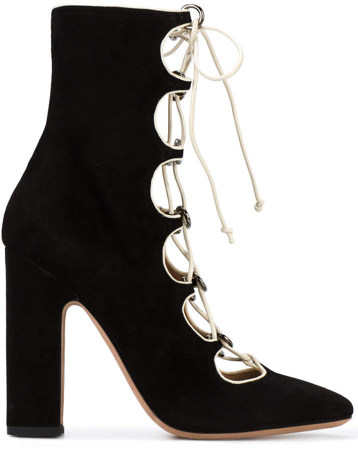 Valentino Black Suede 120 lace up boots