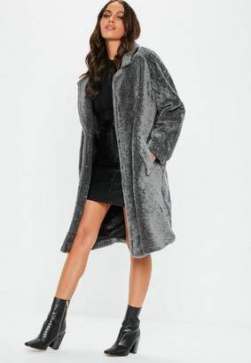 Missguided Gray Faux Fur Oversized Borg Coat