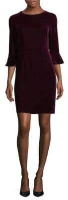 Donna Morgan Three-Quarter Bell Sleeve Velvet Sheath Dress