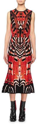 Alexander McQueen Sleeveless Crewneck Engineered Butterfly Jacquard Flared-Hem Dress