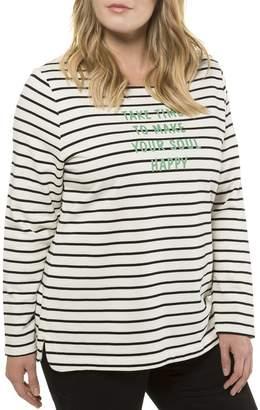 Ulla Popken Breton Long-Sleeved Slogan T-Shirt