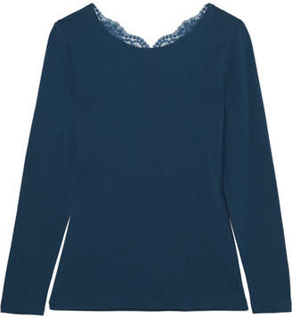 La Perla Souple Lace-trimmed Stretch-cotton Jersey Pajama Top - Petrol