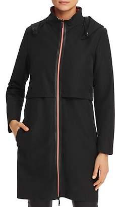 Emporio Armani Contrast-Zip Back-Logo Raincoat