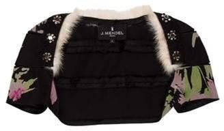 J. Mendel Fur-Accented Embellished Shrug Black Fur-Accented Embellished Shrug
