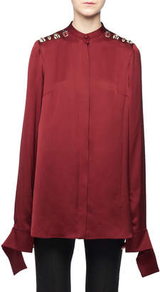 Alexander McQueen Crystal-Bug-Shoulder Cutoff-Cuffs Button-Front Silk Blouse and Matching Items
