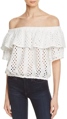 AQUA Eyelet Off-The-Shoulder Tiered Top - 100% Exclusive $58 thestylecure.com