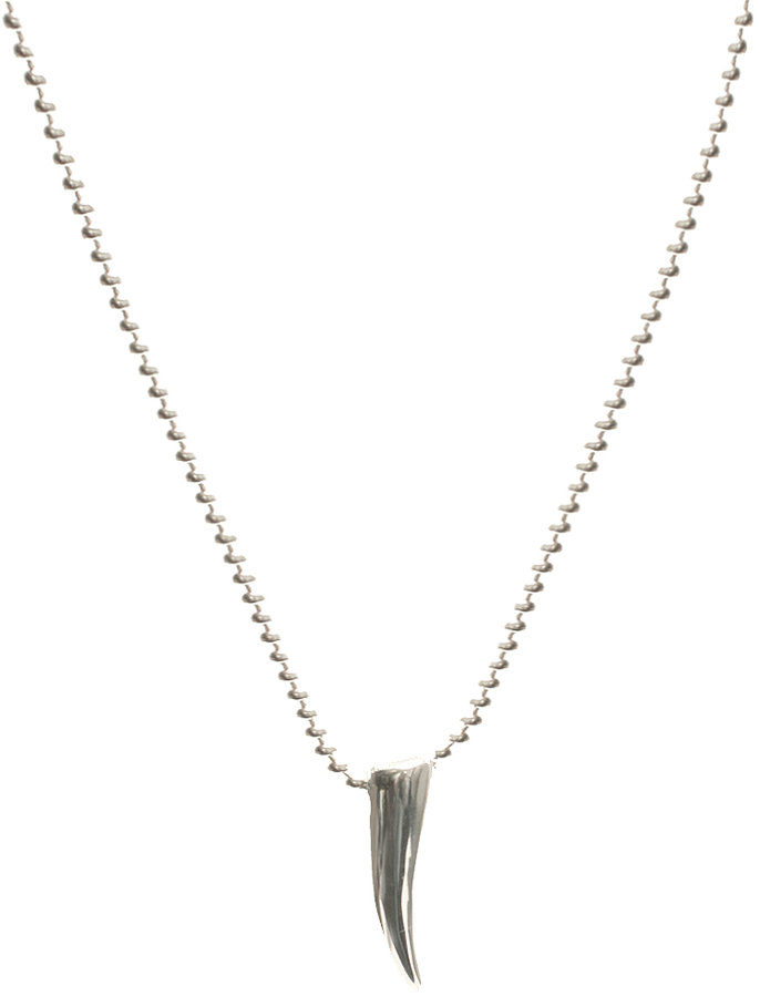 ASOS Sterling Silver Ball Chain Necklace With Tusk Pendant