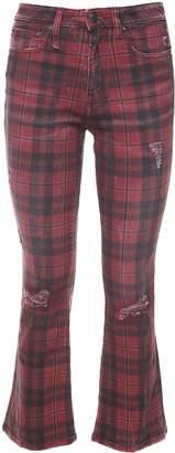 R 13 Kick Fit Plaid-print Stretch-cotton Jeans