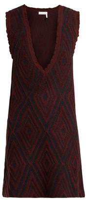 See by Chloe Chevron Jacquard Knit Wool Dress - Womens - Navy Multi