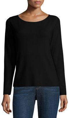 Eileen Fisher Long-Sleeve Ultrafine Merino Box Top $238 thestylecure.com