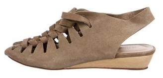 Loeffler Randall Suede Lace-Up Wedge Sandals