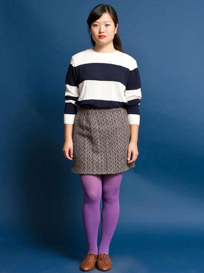 American Apparel Vintage Chevron Pattern Wool Mini Skirt
