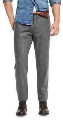 Brunello Cucinelli Chalk-Stripe Flannel Pants, Lead $695 thestylecure.com