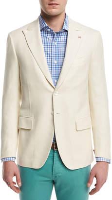 Isaia Textured Peak-Lapel Two-Button Blazer, Creme