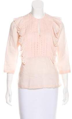 Roche St. Eyelet-Trimmed Long Sleeve Top