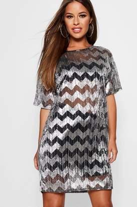 boohoo Petite Ashlee Metallic Zig Zag T-Shirt Dress