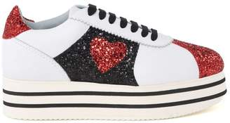 Chiara Ferragni Chiara Suite Glittered Leather Platform Sneakers