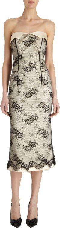 L'Wren Scott Women's Lace Overlay Strapless Dress-Black