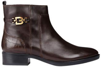 Geox Women's Felicity Block Heel Ankle Boots, Brown Leather