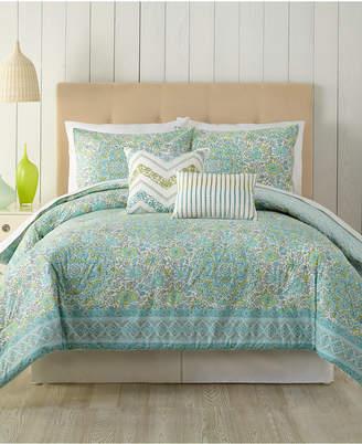 Peking Indigo Bazaar Stamped Indian Floral Queen Comforter Set - 5 Piece Bedding