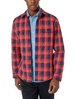 Nautica Men's Quilted Plaid Twill Casual Shirt,Small