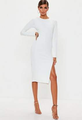 Missguided White Long Sleeve Split Midi Dress