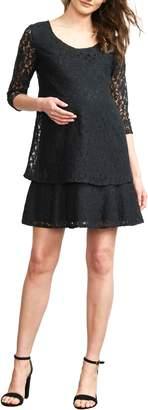 Maternal America Tiered Lace Maternity Dress