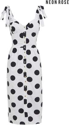 Next Womens Neon Rose White Spot Button Front Sundress