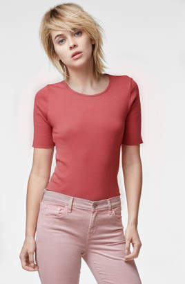 J Brand French Girl Short Sleeve Tee In Begonia